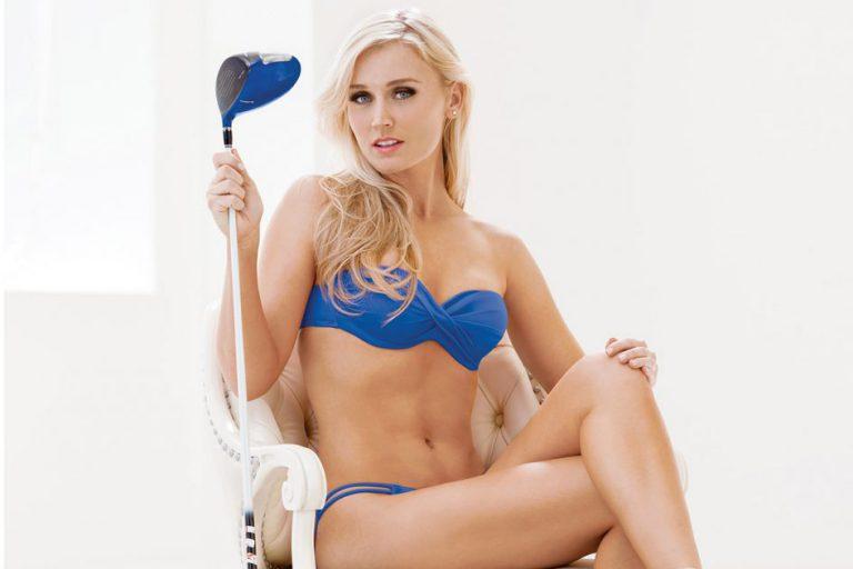Blair O'Neal in a blue bikini holding a driver