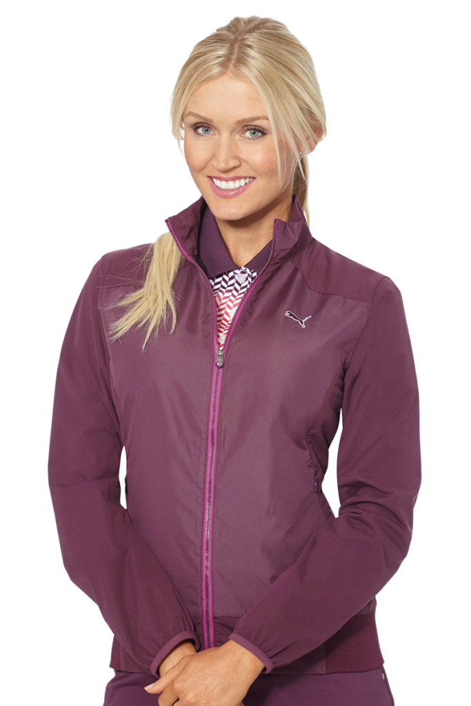 Blair O'neal in purple Puma jacket